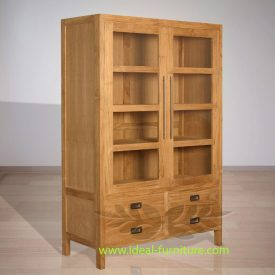 Indonesian Indoor Teak Furniture: George Display Cabinet Extended