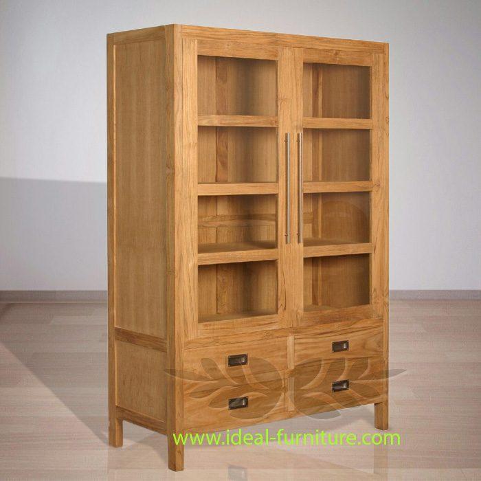 Indonesian Indoor Teak Furniture: George Display Cabinet Extended