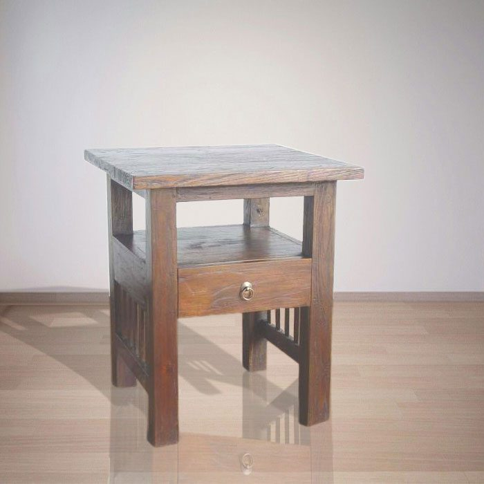 Indonesian Indoor Teak Furniture Bedside: Kroos Bedside (IFBS-007)