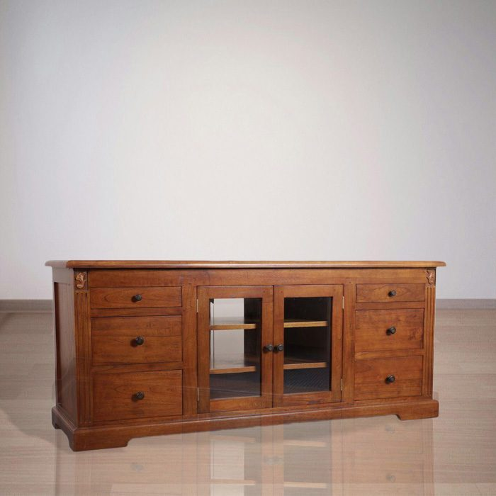 Indonesian Indoor Teak Furniture Plantation Style TV Stand