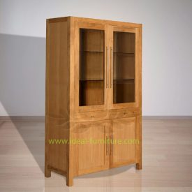 Indonesian Indoor Teak Furniture Fred Display Cabinet Extended