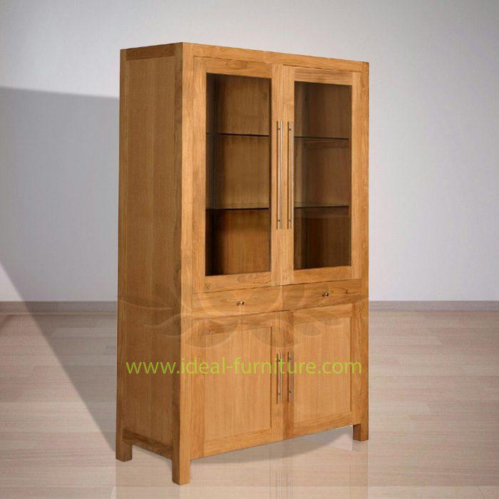 Indonesian Indoor Teak Furniture Fred Display Cabinet Extended
