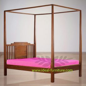 Indonesia Indoor Teak Furniture Leopold Canopy Bed (IFBD-010)