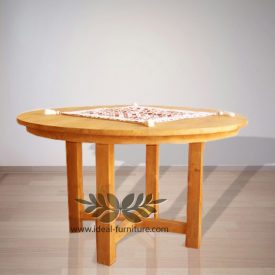 Indonesia Indoor Teak Furniture Round Dining Table 2 150 (IFDT-010)