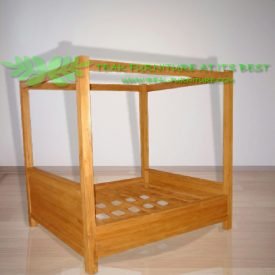 Indonesia Indoor Teak Furniture Simple Canopy Bed (IFBD-011)